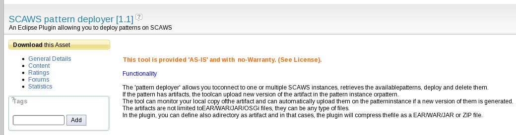 SCAWS pattern deployer Asset Catalog