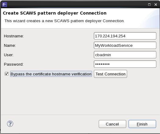 WLSCAWS Pattern deployer Create Connection