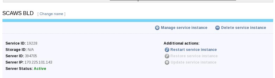 WLSCAWS Service instance details