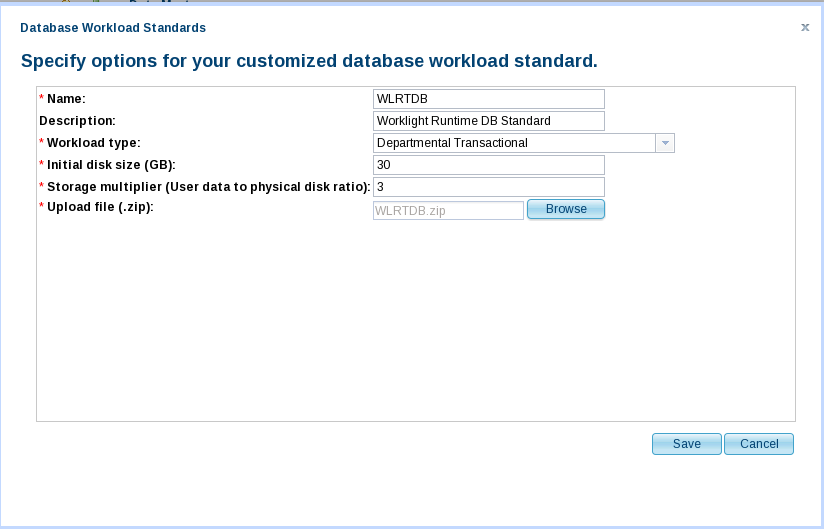 WLSCAWS DB Workload Standard